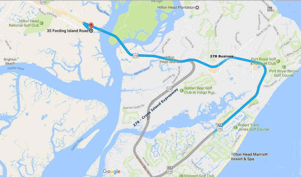 Directions from Hilton Head Island to Buckingham Landing