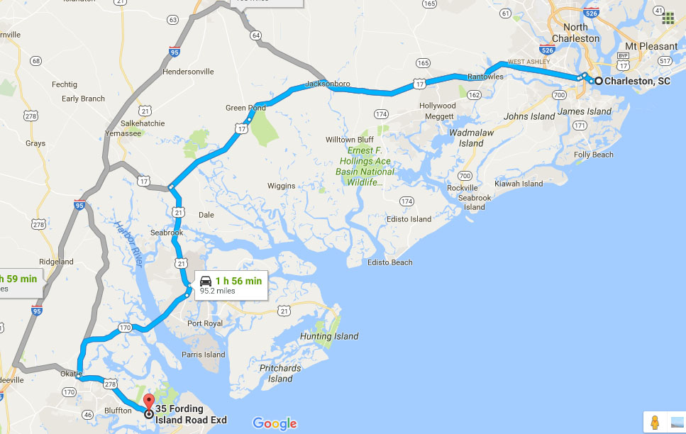 Directions from Charleston and Beaufort to Buckingham Landing