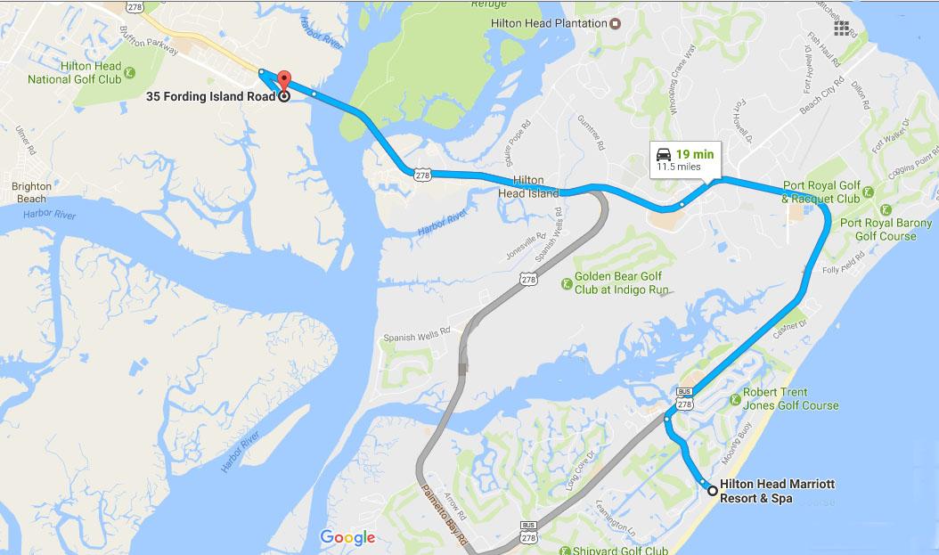 Directions from Marriott Resort on Hilton Head Island to Buckingham Landing
