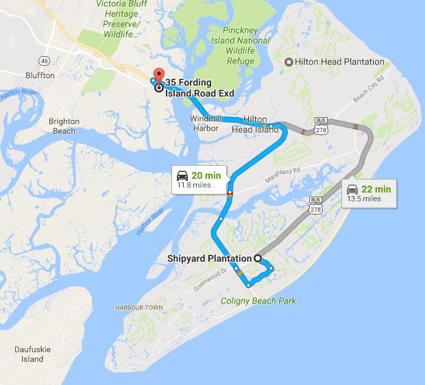 Directions from Shipyard on Hilton Head Island to Buckingham Landing